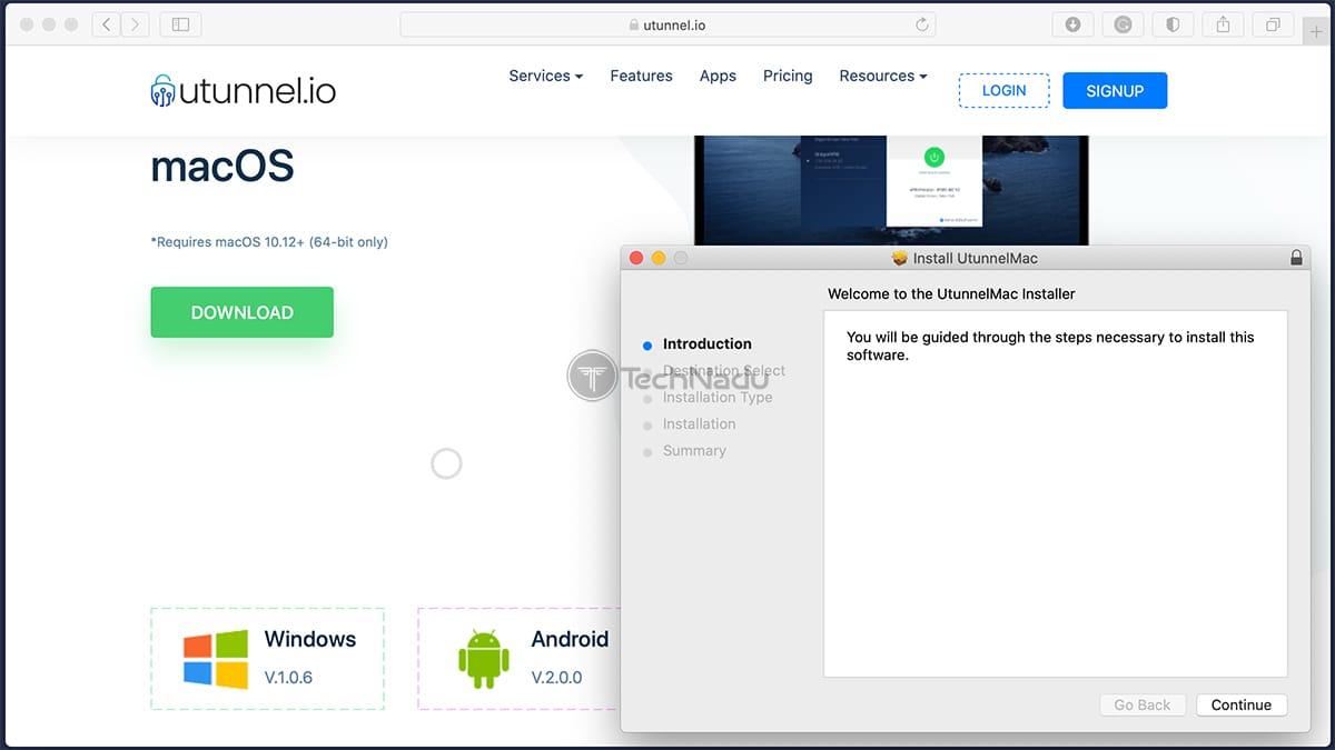 Installation Wizard of UTunnel VPN on MacOS