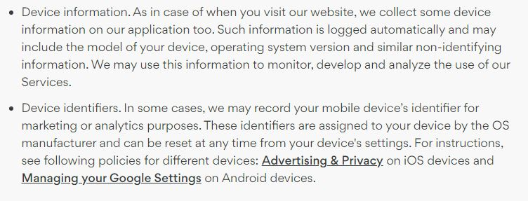 what device data NordVPN collects