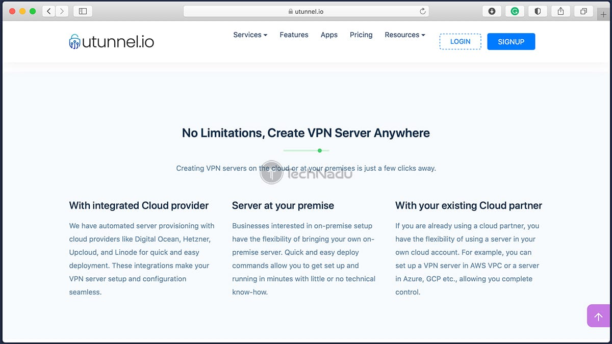 Possible Server Setups via UTunnel VPN