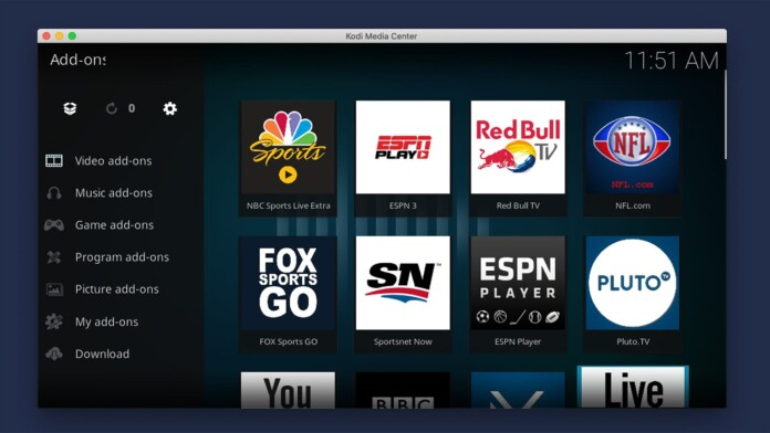 Selection of Live Sports Addons for Kodi