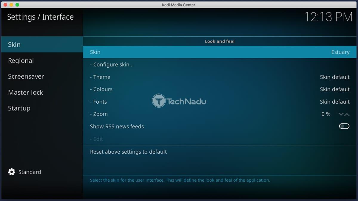 Skin Settings Kodi Interface