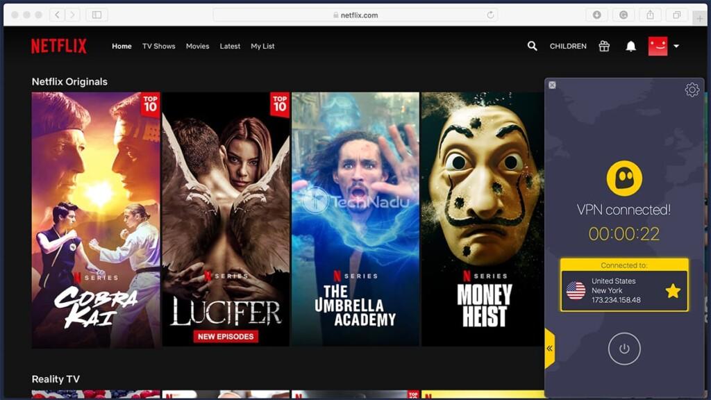 Streaming Netflix via CyberGhost VPN