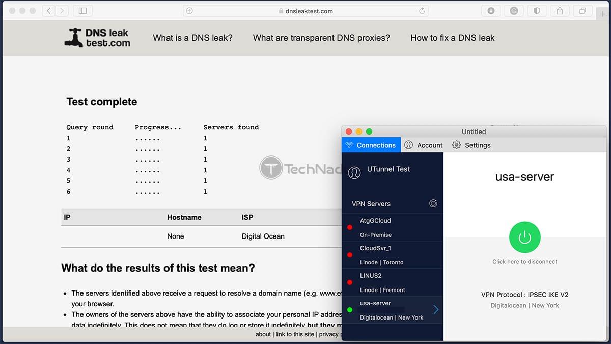 UTunnel Passes DNS Leak Test