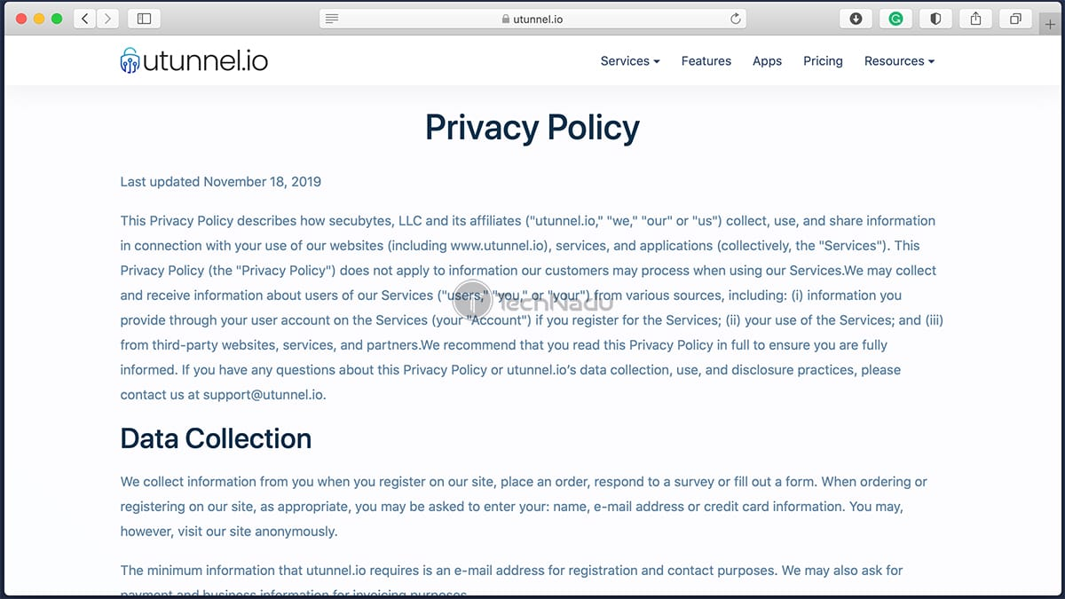 UTunnel Privacy Policy