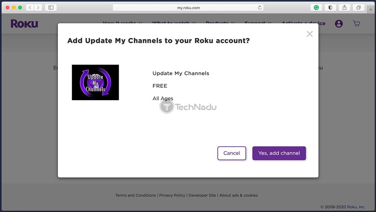 Update my Channels Roku