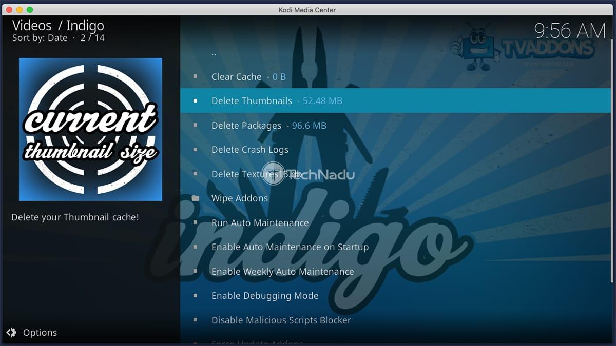 Using Indigo for Kodi to Clear Cache Files
