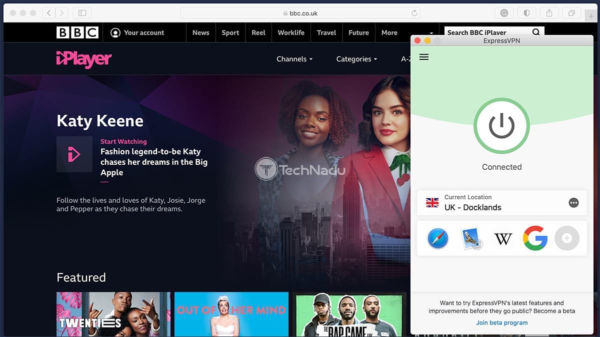 Accessing BBC iPlayer via ExpressVPN
