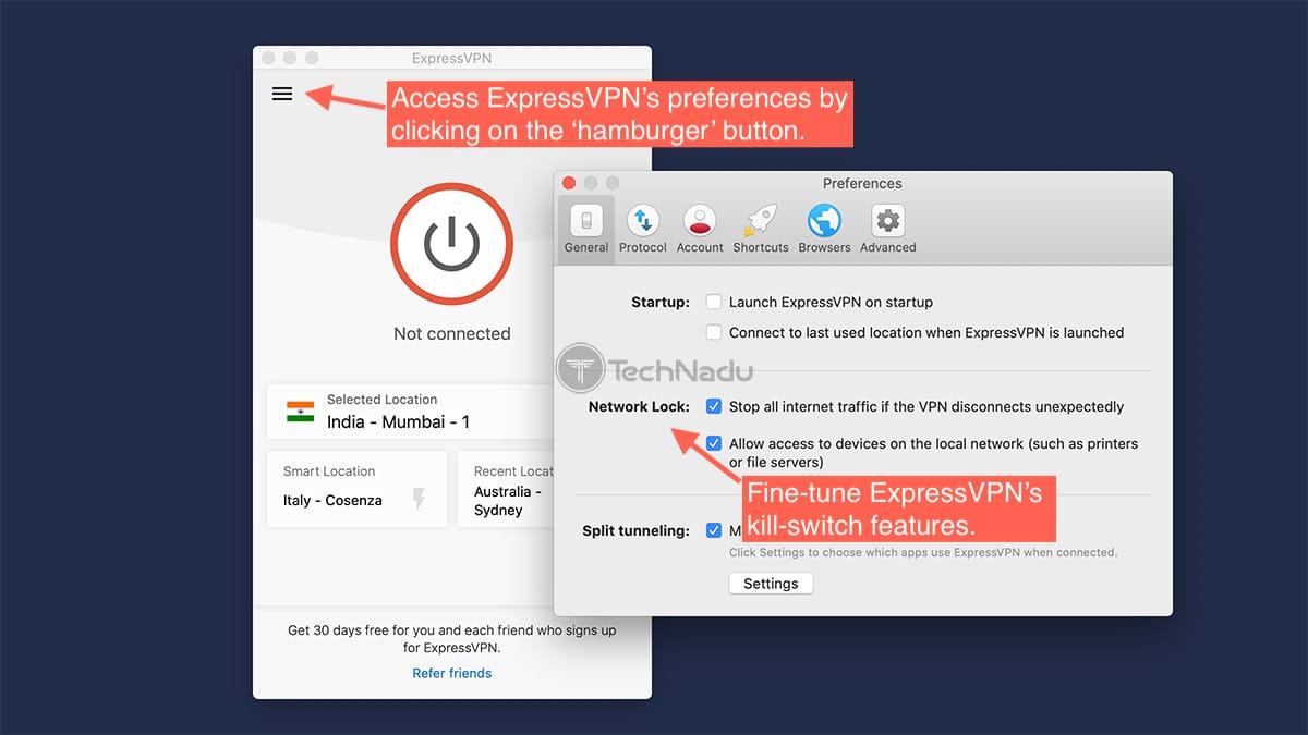 Accessing ExpressVPN Kill Switch on Mac