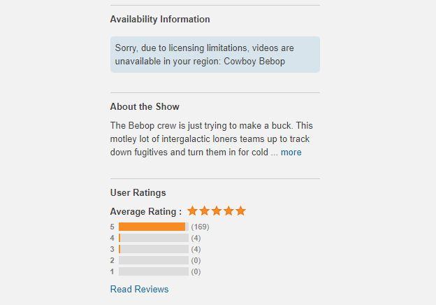 Crunchyroll geo-restriction message for Cowboy Bebop