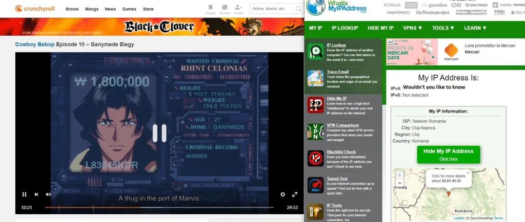 Crunchyroll screenshot showing that we're watching Cowboy Bebop without VPN.