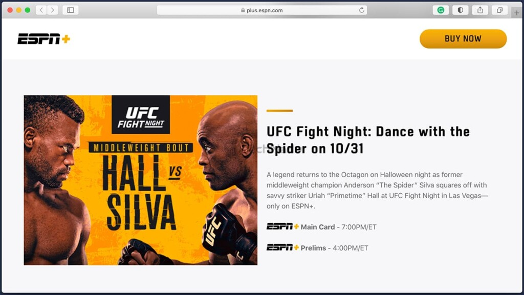 ESPN Plus Sign-Up Page for UFC