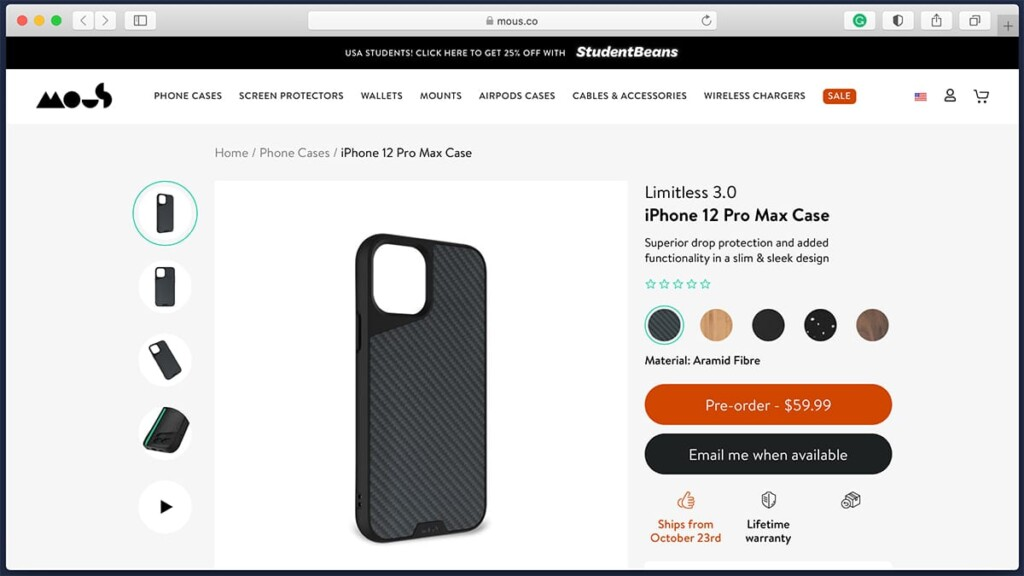 Mous Slim Case for iPhone 12