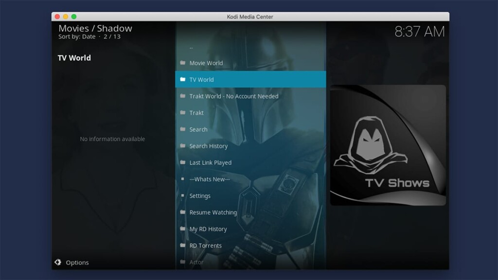 Shadow Kodi Addon Home Screen
