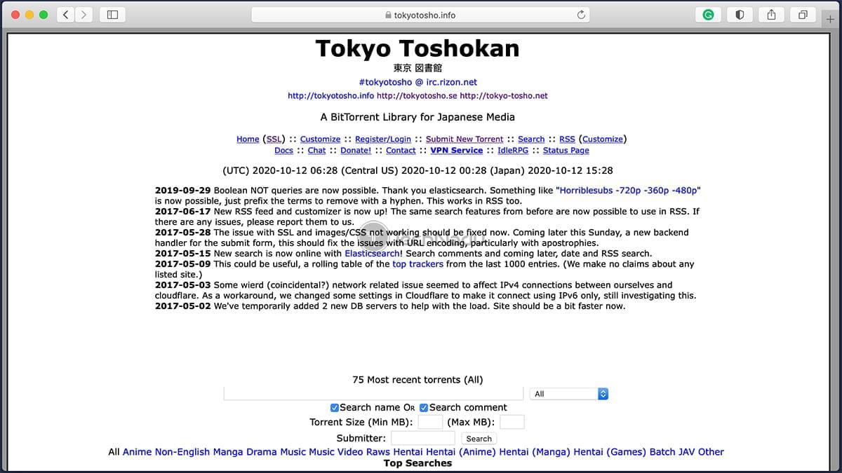 TokyoTosho Anime Torrent Homepage