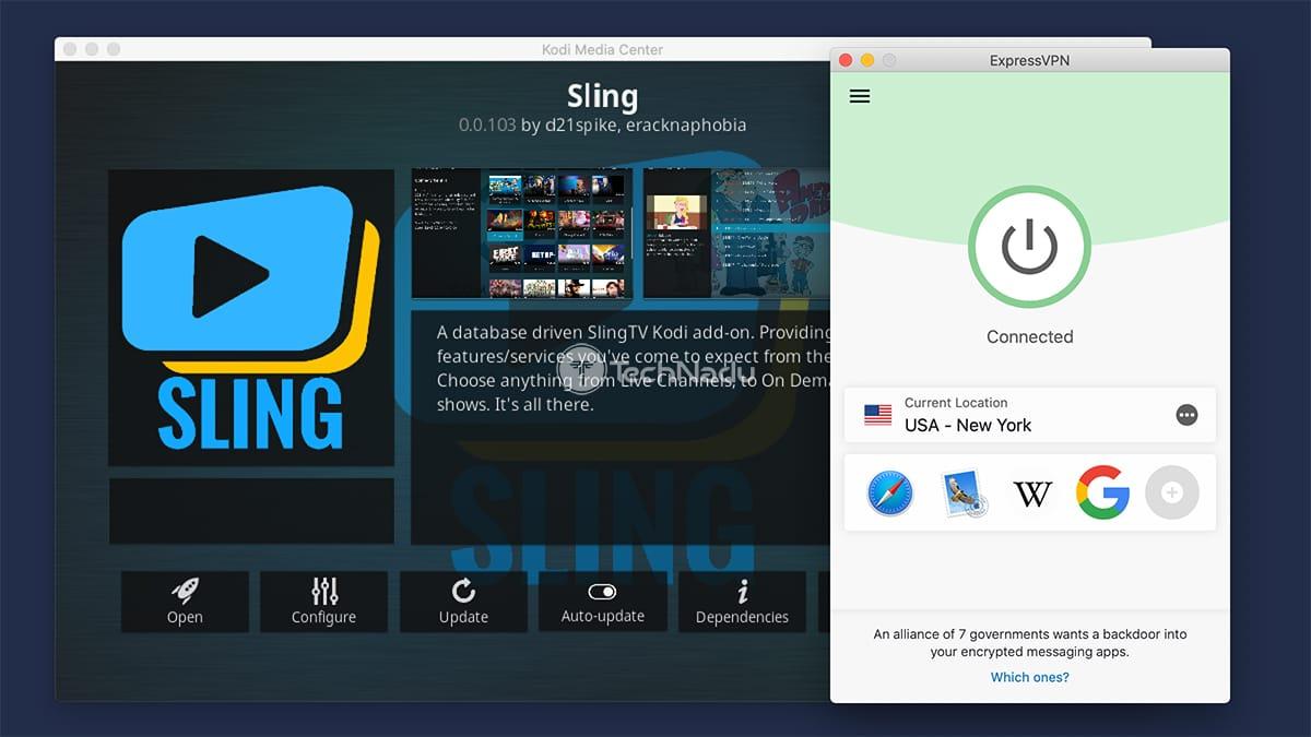 Using Sling Kodi Addons With ExpressVPN