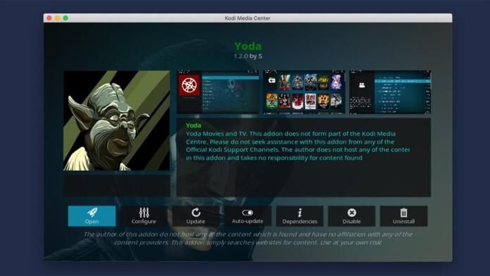 Yoda Kodi Addon Overview Screen