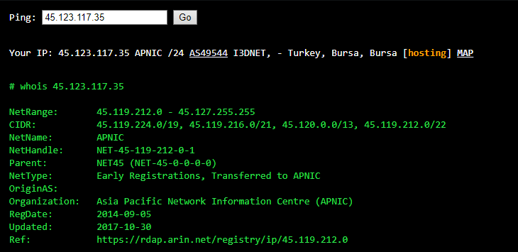 Verifying the location of a Turkish server from ExpressVPN with an online ping tool.