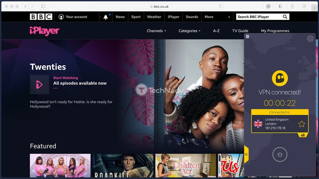Accessing BBC iPlayer via CyberGhost VPN