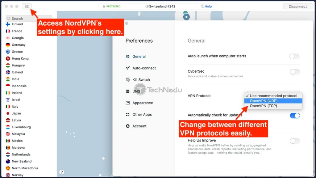 Choosing a Different Protocol NordVPN for Mac