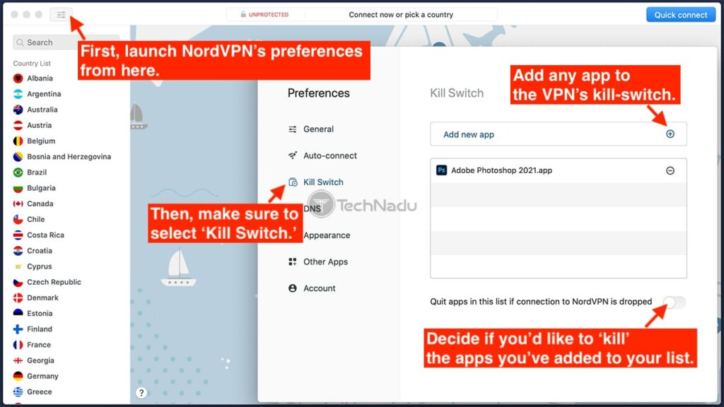 Enabling Kill Switch on NordVPN on macOS