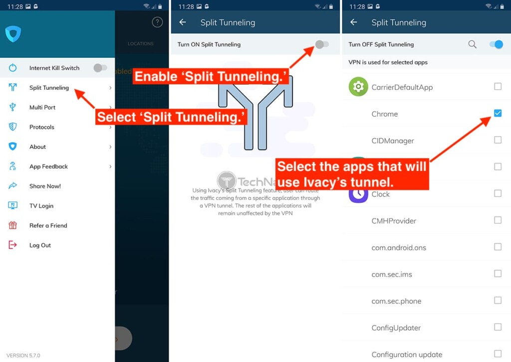 Enabling Split Tunneling on Ivacy VPN for Android