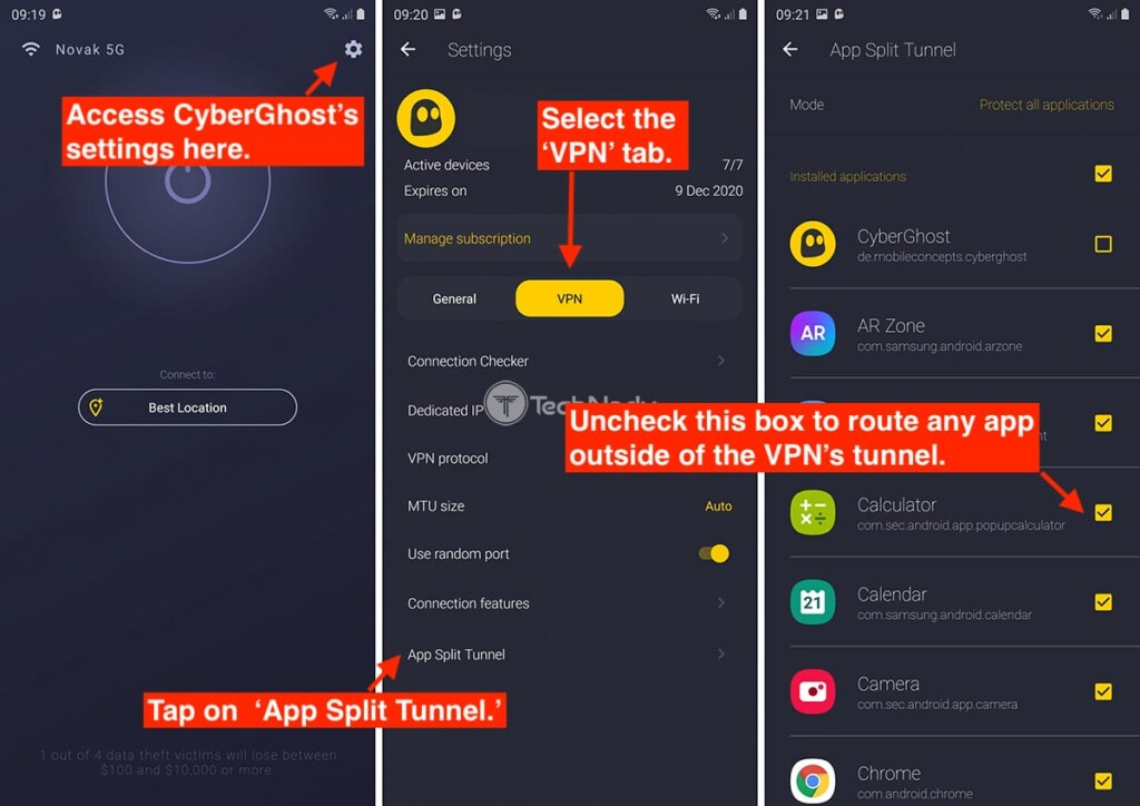 Enabling Split Tunneling via CyberGhost VPN for Android