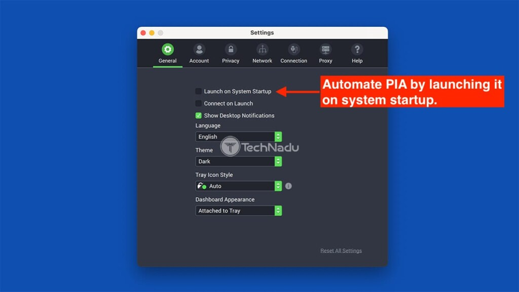 General Settings Private Internet Access macOS