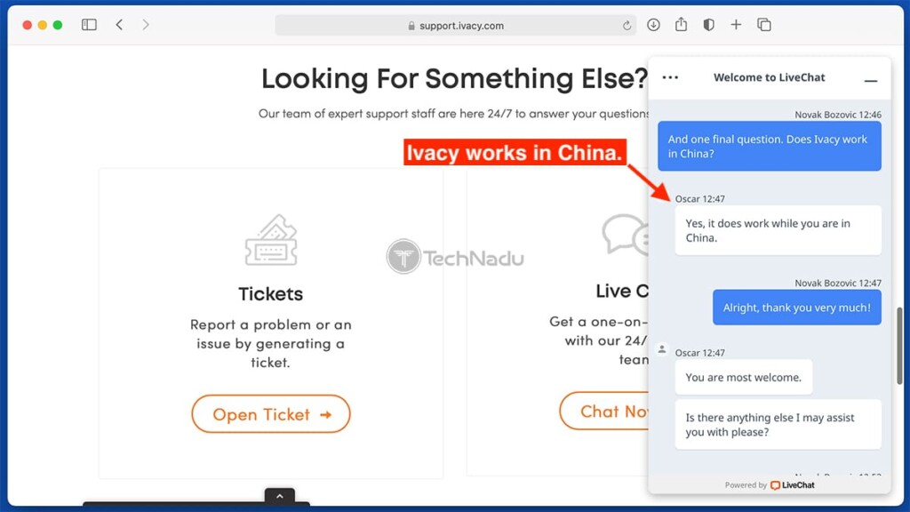 Ivacy Customer Support Inqury About Access in China