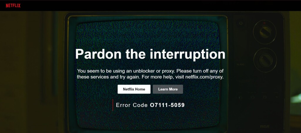 Screenshot of the Netflix proxy error page.