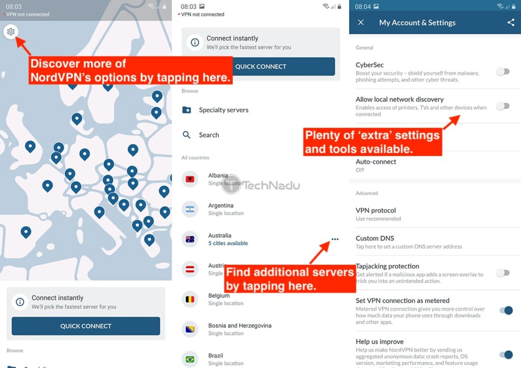 NordVPN Interface on Android