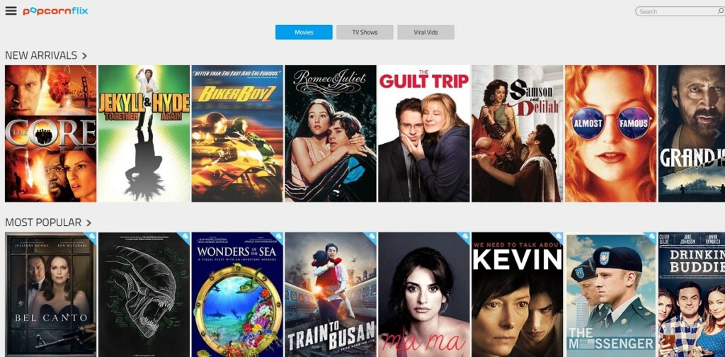 Screenshot showing some titles that are available on Popcornflix.