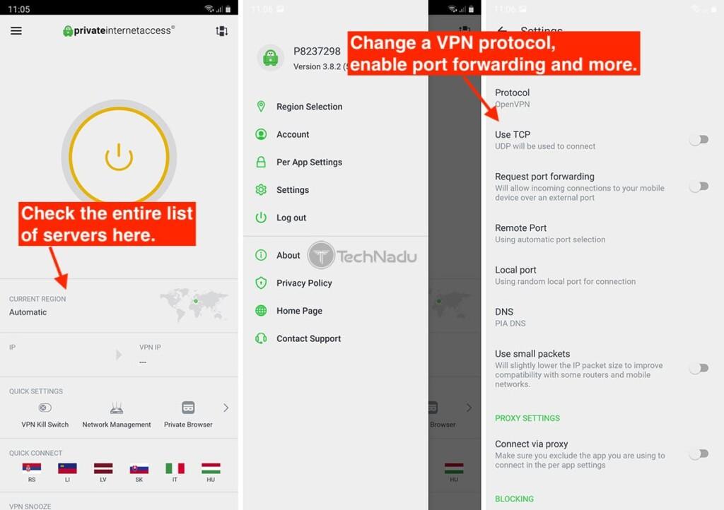 Private Internet Access UI on iOS