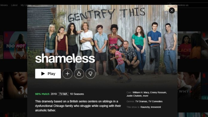 Screenshot of Shameless (U.S.) on Netflix US