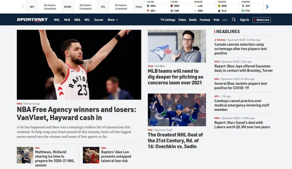 Screenshot of the Sportsnet homepage.