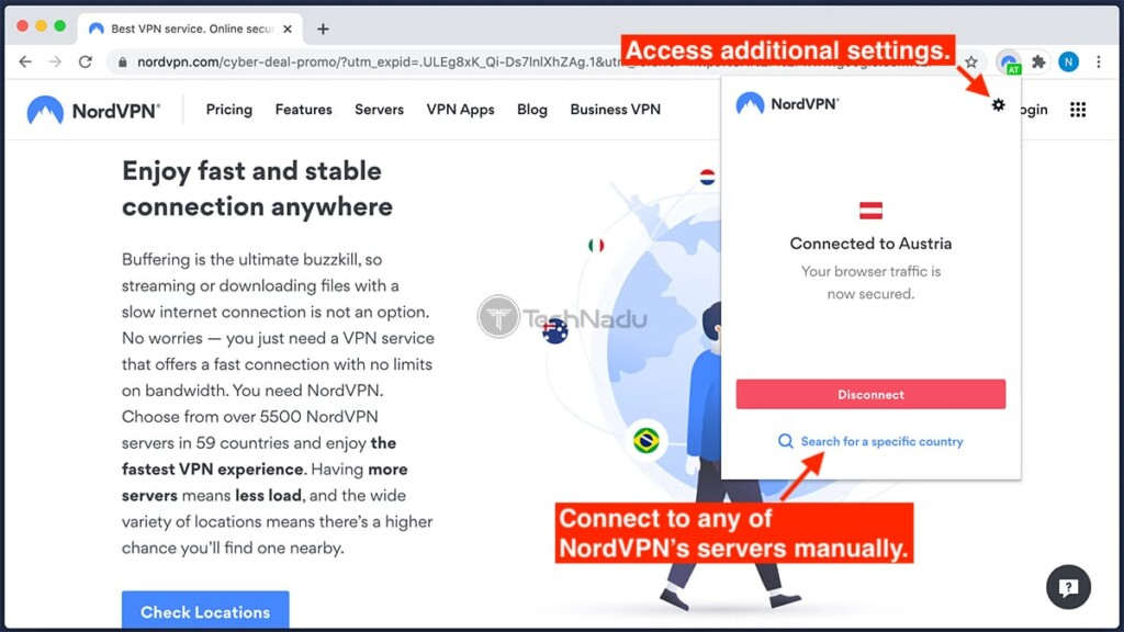 Using NordVPN Extension for Chrome