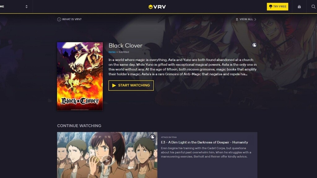 VRV homepage when logged in