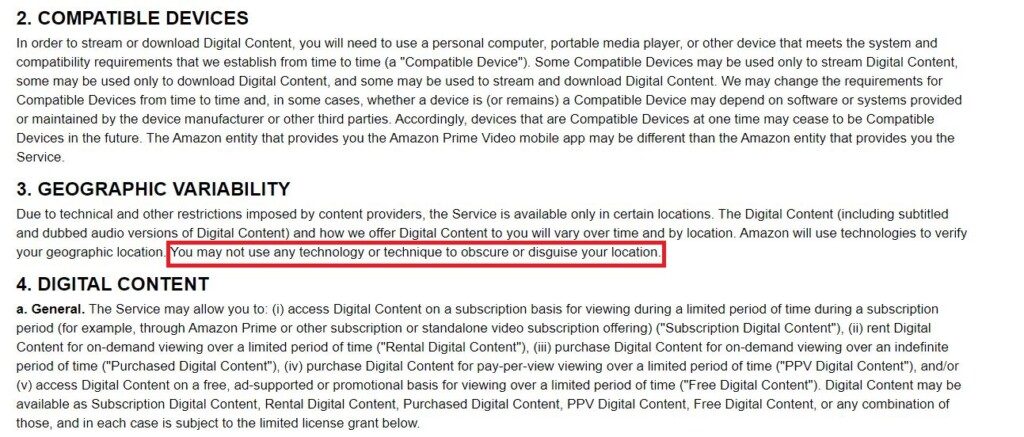 Screenshot of Amazon Prime Video's ToS.