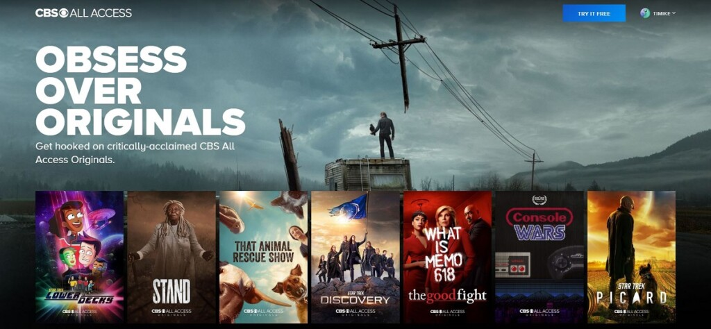 Screenshot of CBS All Access original shows on the site's homepage.