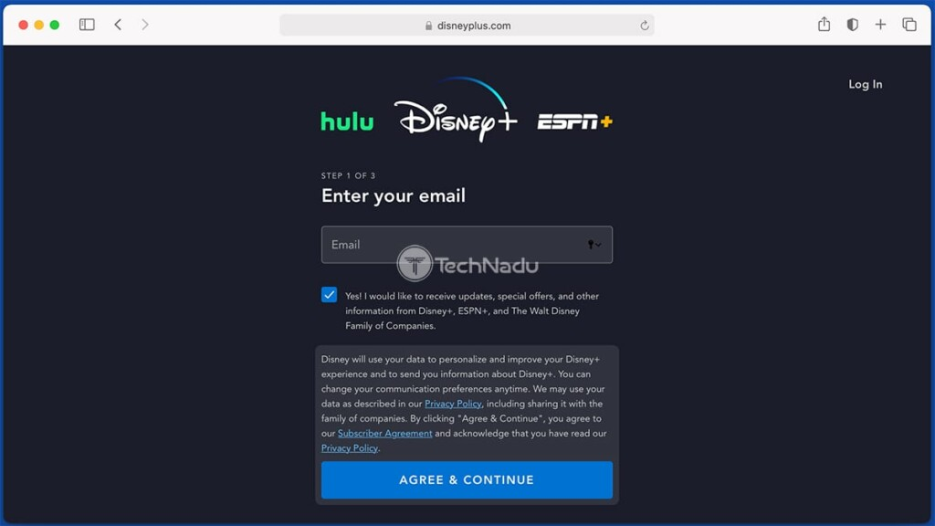 Entering Email While Signing Up for Disney Plus