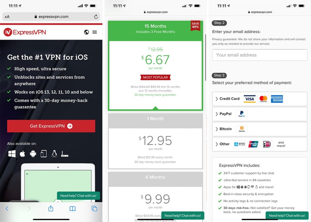 Signing Up for ExpressVPN on iOS