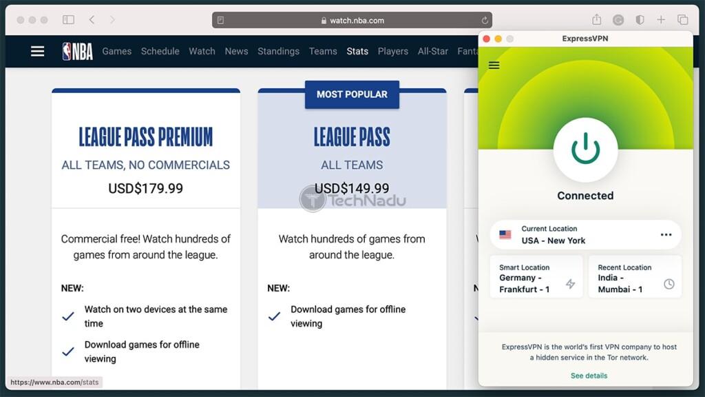 Accessing NBA Website via ExpressVPN