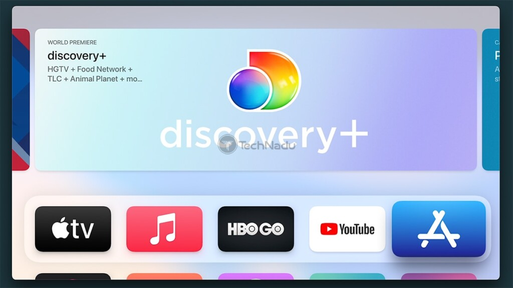 Apple TV Home Screen With Discovery Plus Highlighted