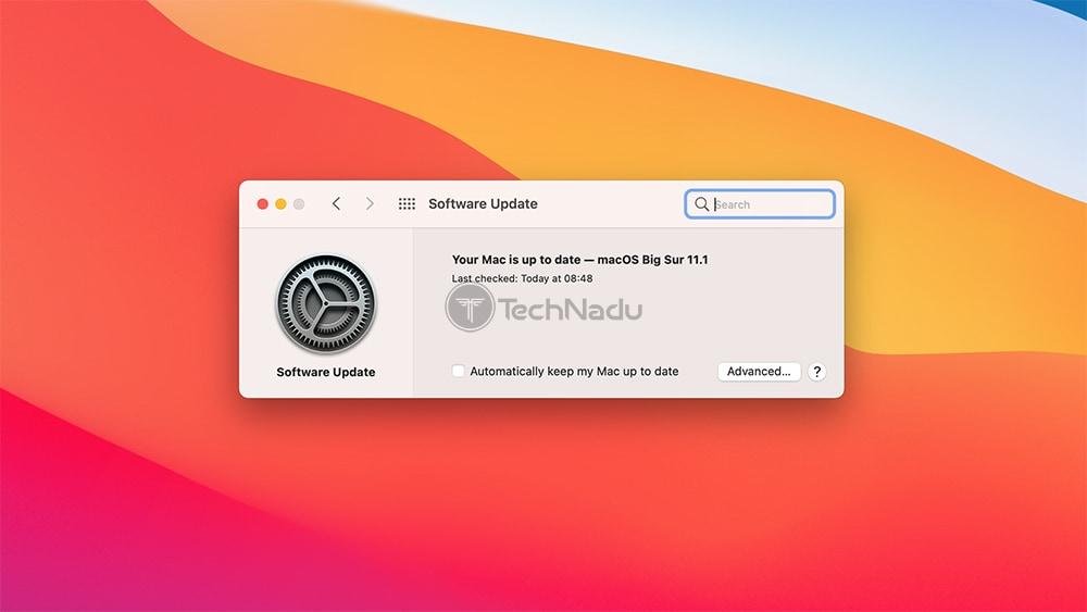 Checking macOS Software Update via System Preferences