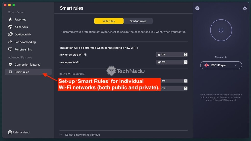 CyberGhost Smart Rules Feature
