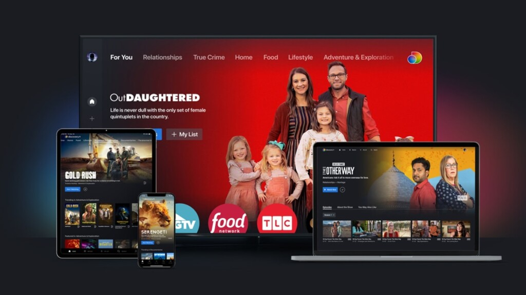 Discovery Plus Interface on TV, Table, Smartphone and Laptop
