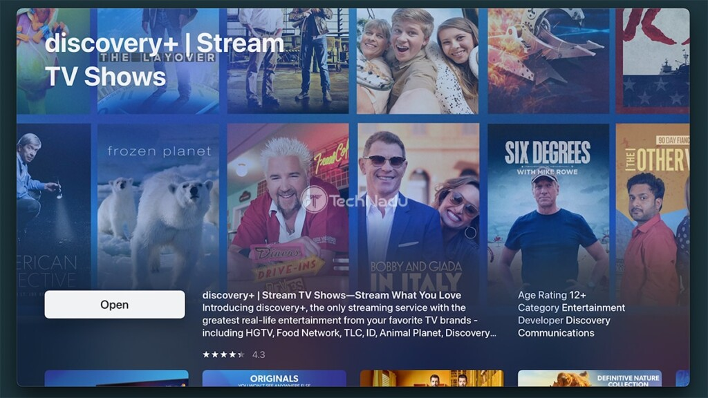 Discovery Plus Overview tvOS App Store