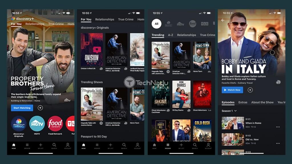 Discovery Plus iOS App Interface