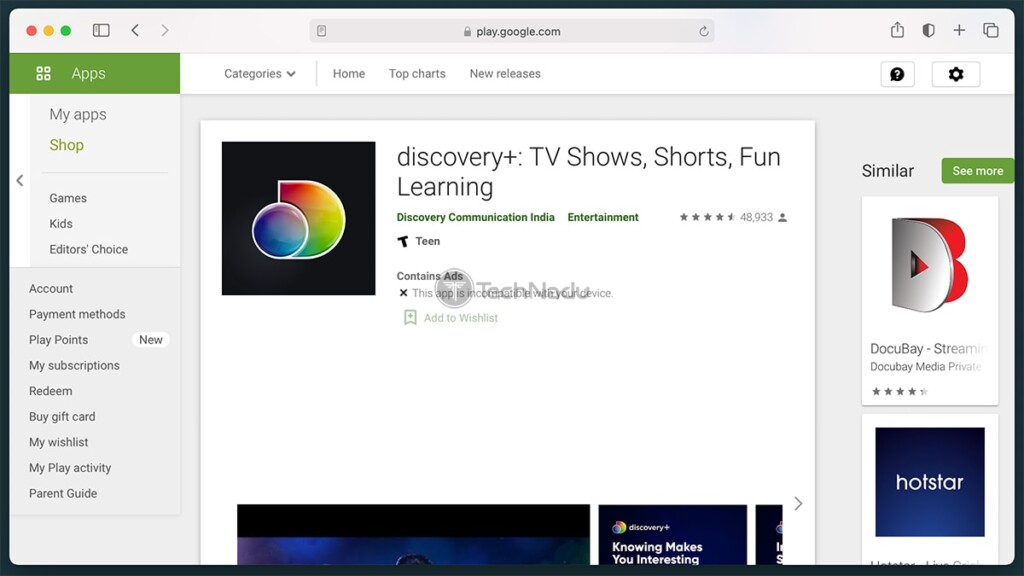 Discovery Plus on Android Play Store