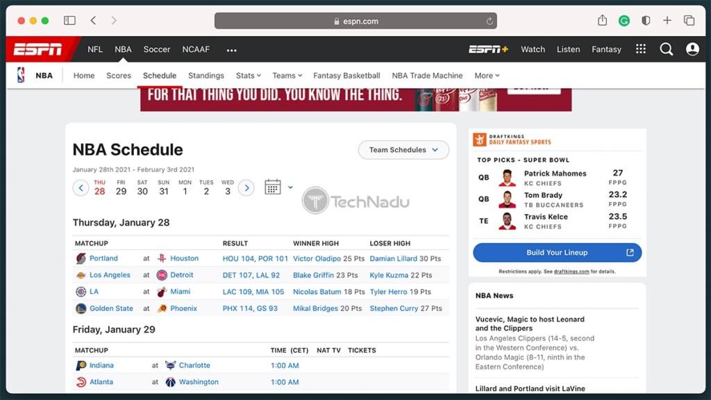 ESPN Website Showing NBA Section