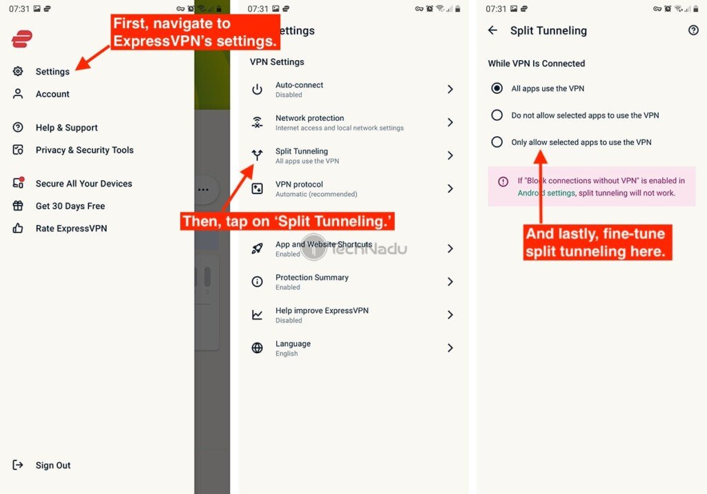 ExpressVPN Split Tunneling on Android